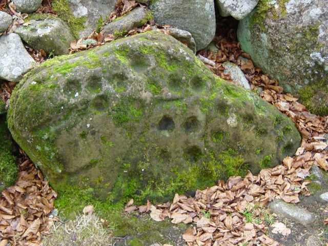Cup marks in a clava cairn boulder at Balnauran of Clava, near Inverness, Scotland