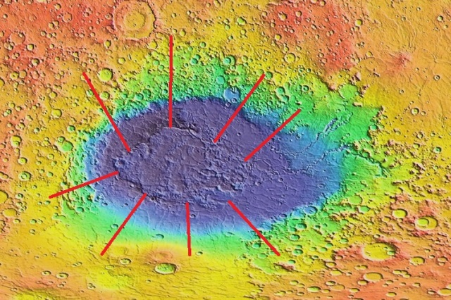 Icy-body impacts are hypothesized to form basins rather than craters, obscuring icy-body impacts from detection as such on Earth.  The central region of Hellas impact basin (highlighted in red) is hypothesized to be the aqueously-differentiated and lithified sedimentary core of the trans-Neptunian object dwarf planet that impacted Mars, assumedly during the late heavy bombardment, around 4 Ga.