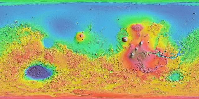 Map of Mars, emphasizing the bifurcation of terrain, pointing to a Pluto-sized dwarf planet merger in the southern hemisphere, leaving the northern, polar lowland region, Vastitas Borealis, free of the final dwarf-planet contamination.