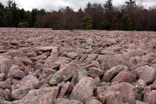 Hickory Run boulder field, Pennsylvania  Boulder field hypothesized to have formed by a secondary impact of icy crustal material sloughed off from the icy body that formed the Nastapoka arc, of lower Hudson Bay, some 12,900 years ago.  Following the secondary impact, a downhill debris flow concentrated the boulders into the present boulder field.