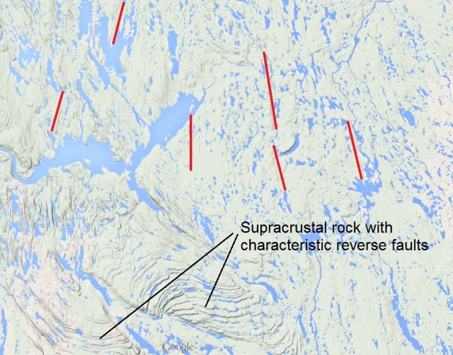 Portions of Churchill Province to the East and Labrador Trough to the west and south, showing the final location of supracrustal rock which is suggested to have rafted into the Labrador Trough from Ungava Bay and further north on Labrador Peninsula atop melting chunks of ice sheet.  Red witness marks suggest the direction of travel.